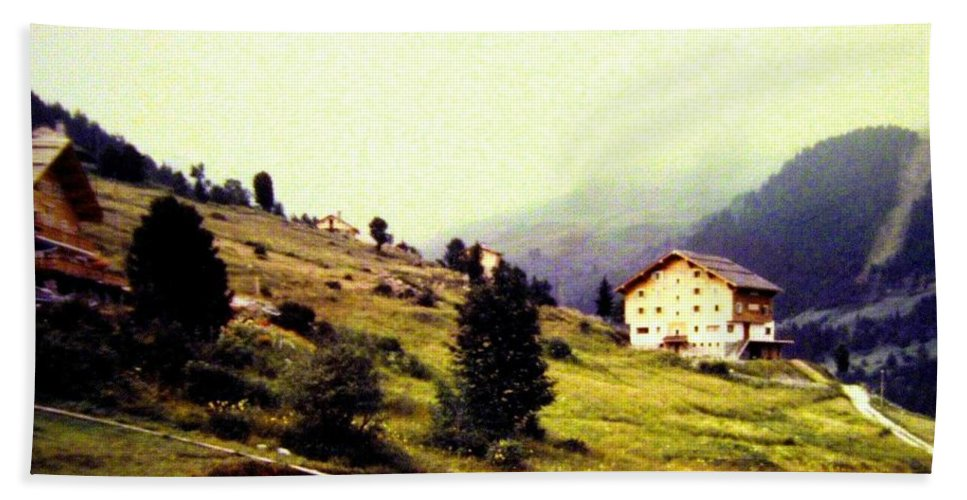 1955 Bath Sheet featuring the photograph French Alps 1955 by Will Borden