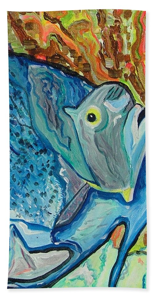 French Hand Towel featuring the painting French Angle Fish by Heather Lennox
