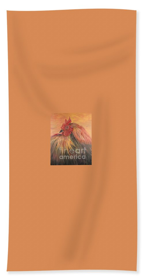 Rooster Hand Towel featuring the painting French Country Rooster by Nadine Rippelmeyer