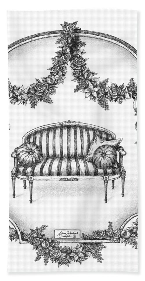 Black Hand Towel featuring the drawing French Country Sofa by Adam Zebediah Joseph