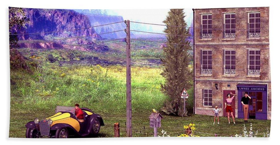 Landscape Hand Towel featuring the digital art French Countyside Scene by John Junek