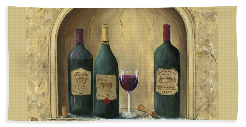 Europe Hand Towel featuring the painting French Estate Wine Collection by Marilyn Dunlap