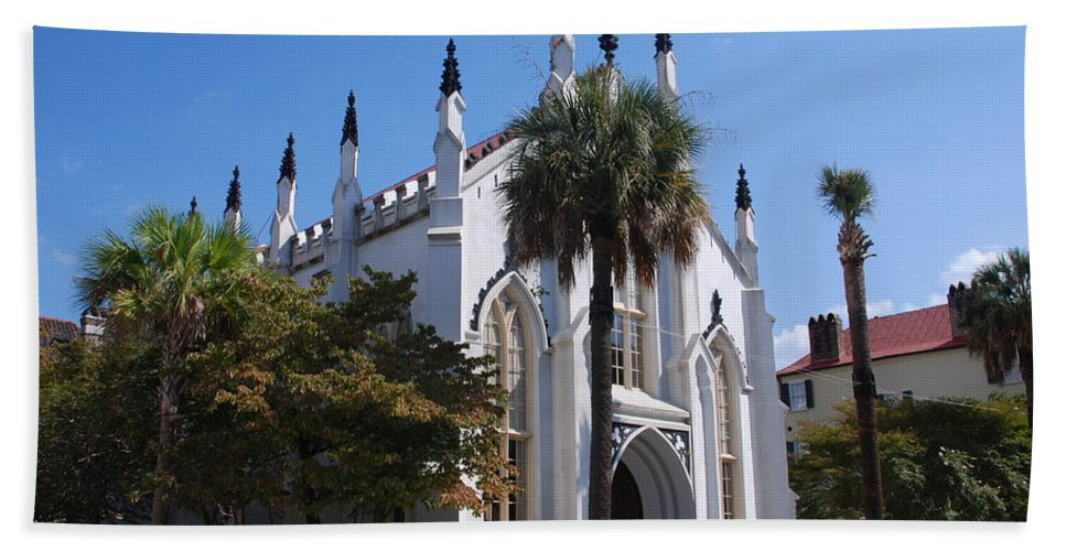 Photography Bath Sheet featuring the photograph French Huguenot Church In Charleston by Susanne Van Hulst