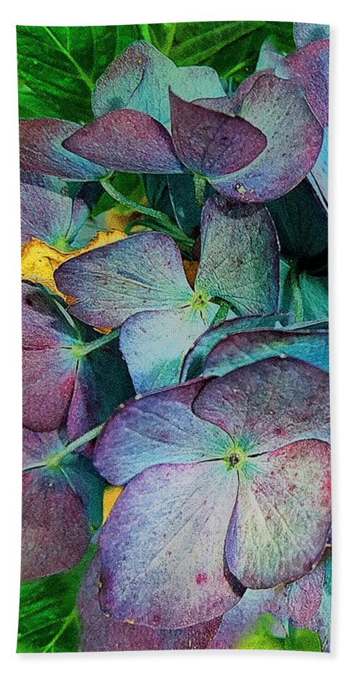 Hydrangea Hand Towel featuring the painting French Hydrangea Rainbow by RC DeWinter