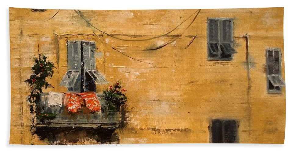 French Bath Towel featuring the painting French Laundry by Barbara Andolsek