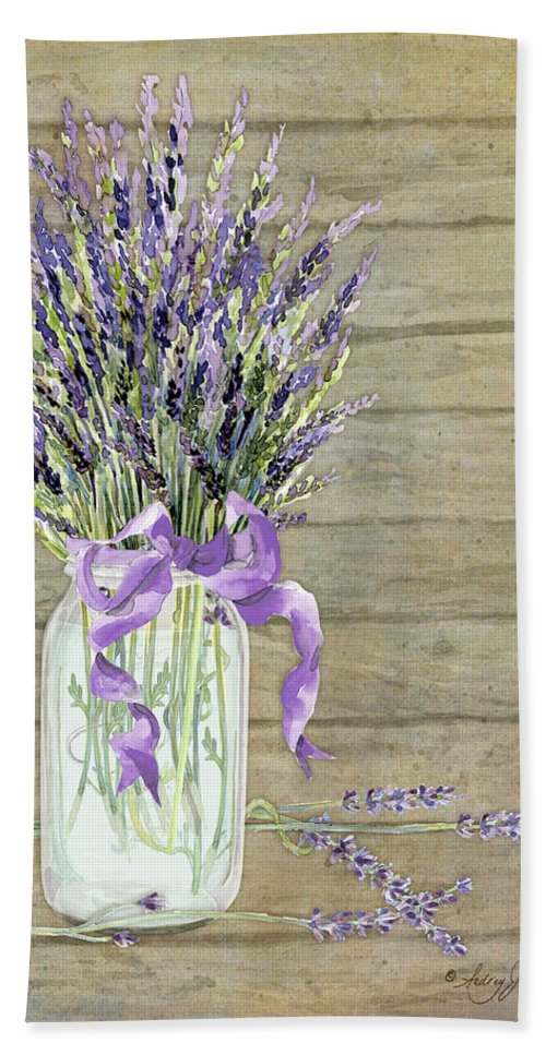 Watercolor Hand Towel featuring the painting French Lavender Rustic Country Mason Jar Bouquet On Wooden Fence by Audrey Jeanne Roberts