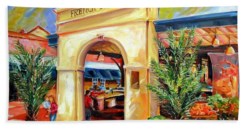 New Orleans Bath Sheet featuring the painting French Market Sunshine by Diane Millsap