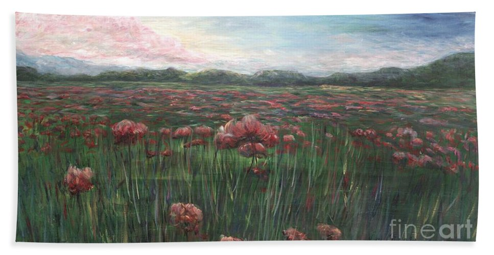 France Hand Towel featuring the painting French Poppies by Nadine Rippelmeyer
