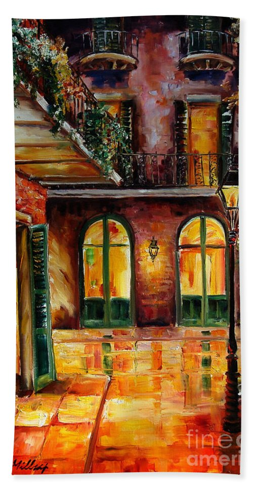 New Orleans Bath Towel featuring the painting French Quarter Alley by Diane Millsap