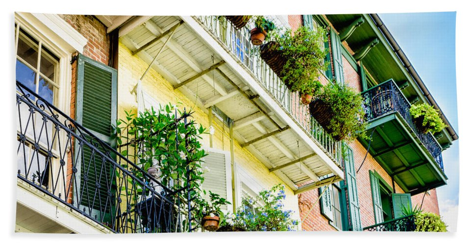 Nola Hand Towel featuring the photograph French Quarter Balconies - Nola by Kathleen K Parker