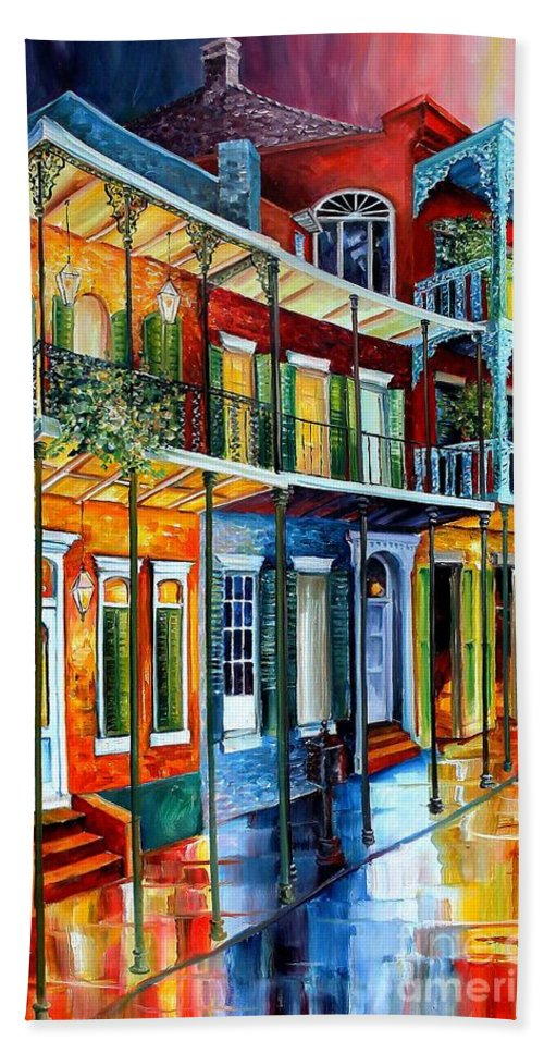 New Orleans Hand Towel featuring the painting French Quarter Charm by Diane Millsap