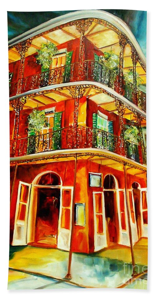 New Orleans Hand Towel featuring the painting French Quarter Corner by Diane Millsap