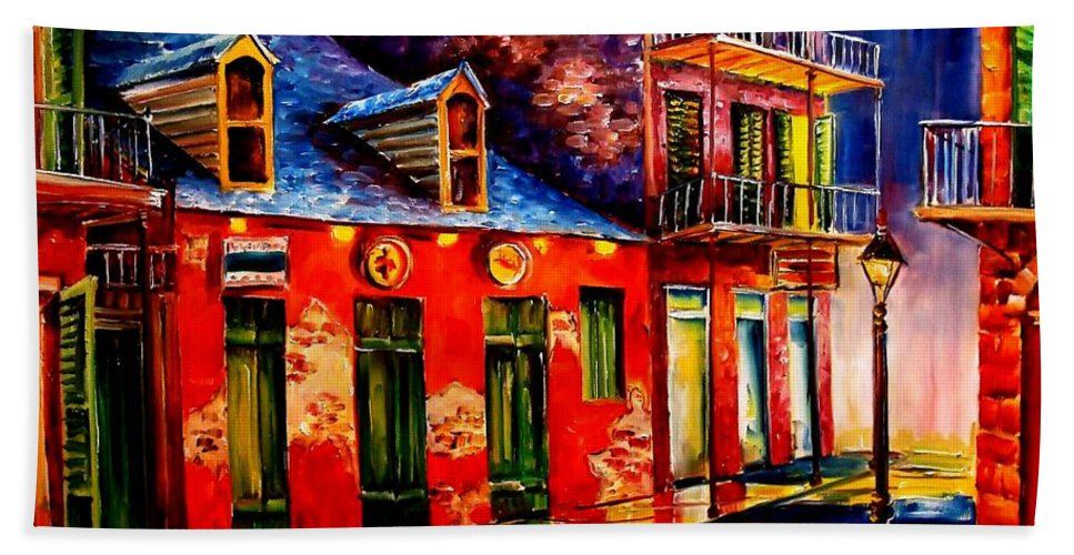 New Orleans Hand Towel featuring the painting French Quarter Dazzle by Diane Millsap