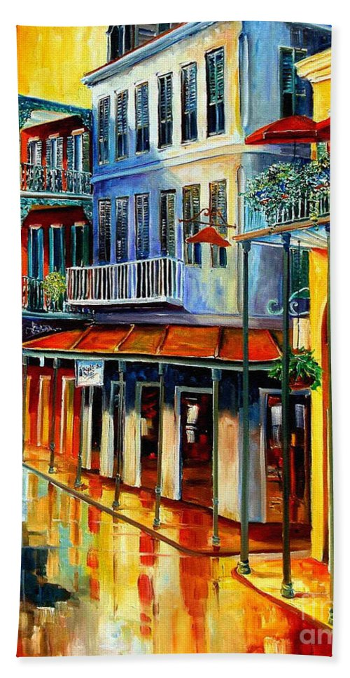 New Orleans Paintins Bath Towel featuring the painting French Quarter Sunrise by Diane Millsap