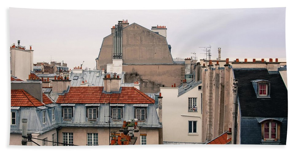 Paris Bath Sheet featuring the photograph French Rooftops by Erin Marie