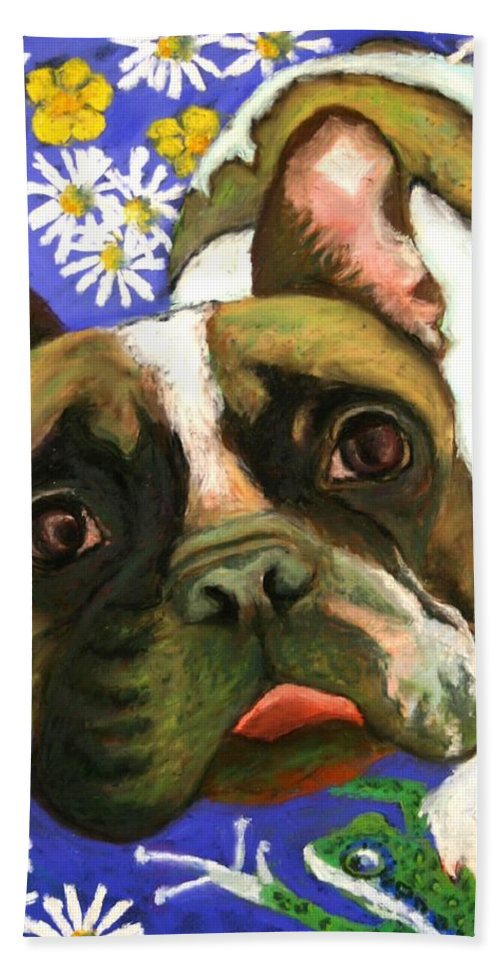 Pet Portrait Bath Sheet featuring the painting Frenchie Plays With Frogs by Minaz Jantz