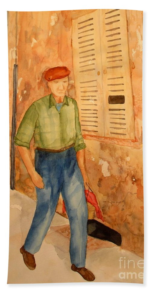 Frenchman Hand Towel featuring the painting Fresh Bread In The Morning by Vicki Housel