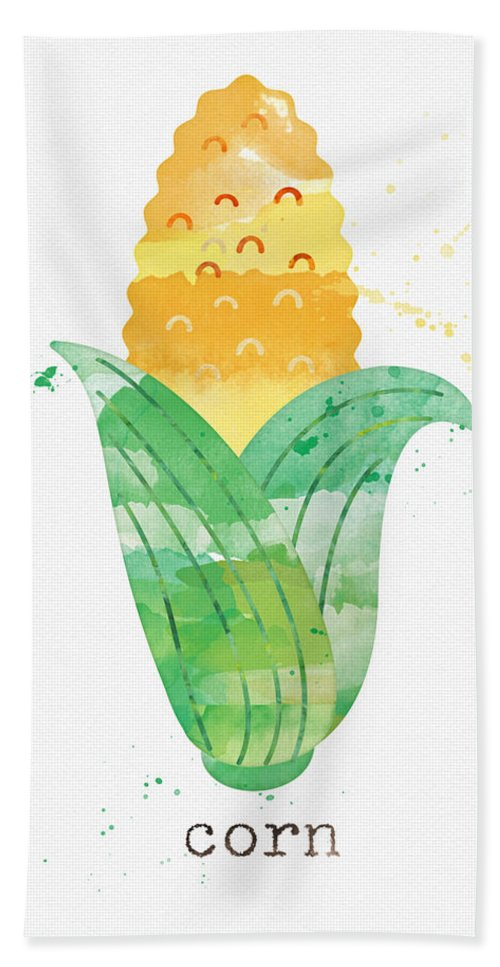 Corn Hand Towel featuring the painting Fresh Corn by Linda Woods