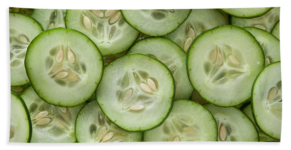 Kitchen Hand Towel featuring the photograph Fresh Cucumbers by Steve Gadomski