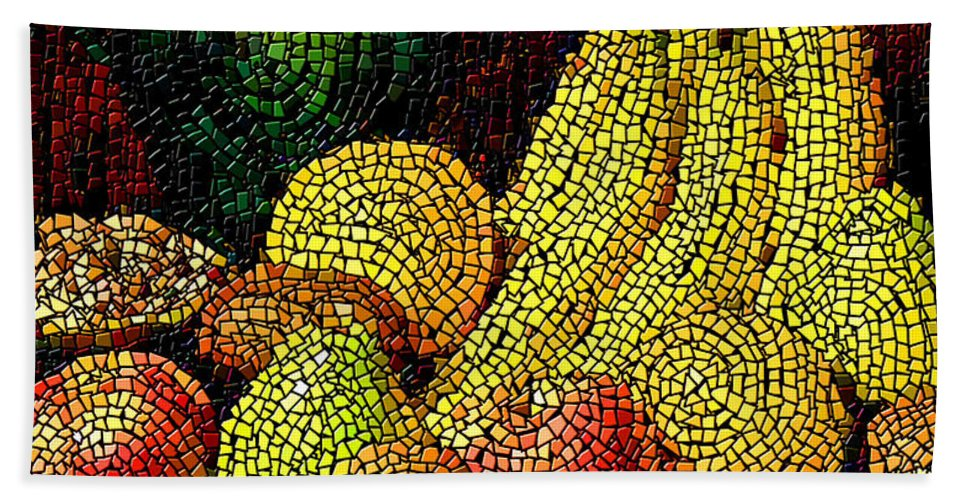 Fruit Bath Sheet featuring the digital art Fresh Fruit Tiled by Stephen Lucas