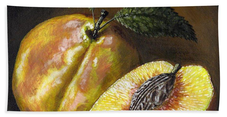 Acrylic Hand Towel featuring the painting Fresh Peaches by Adam Zebediah Joseph