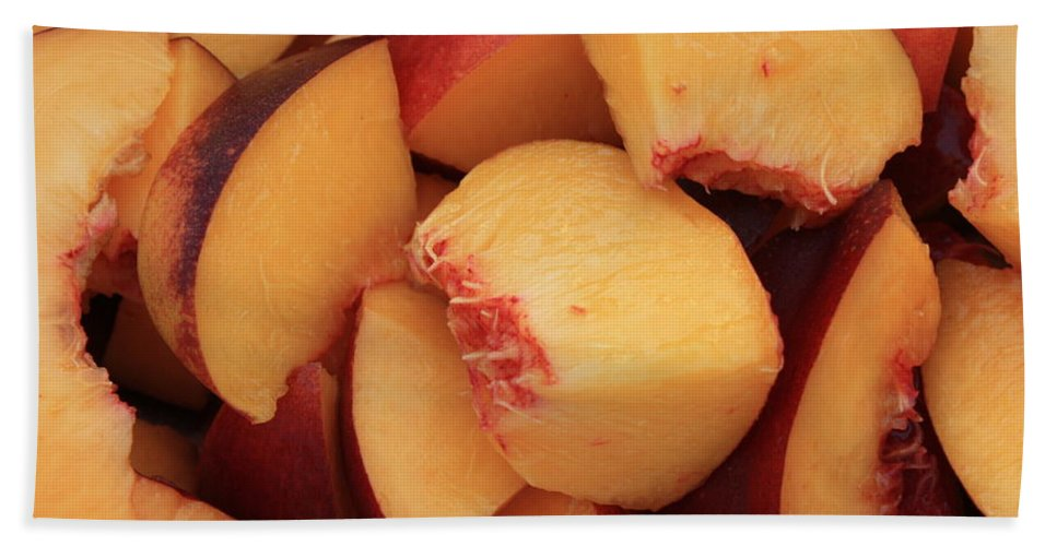 Peaches Bath Sheet featuring the photograph Fresh Peaches by Carol Groenen