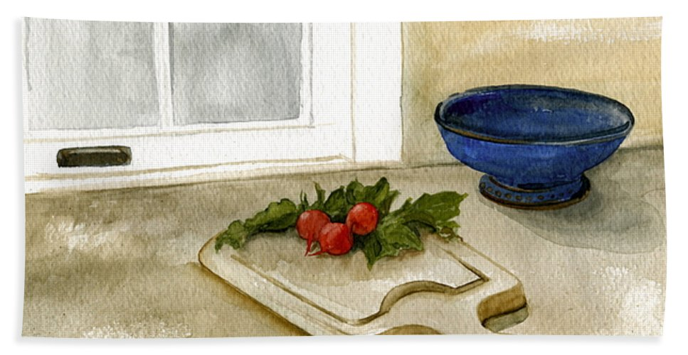 Radish Hand Towel featuring the painting Fresh Radishes by Nancy Patterson
