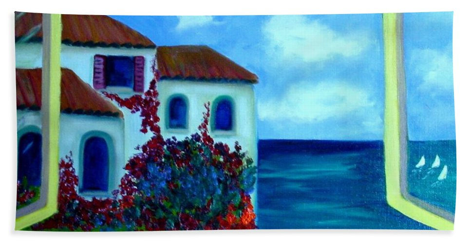 Seascape Bath Towel featuring the painting Fresh Sea Air by Laurie Morgan