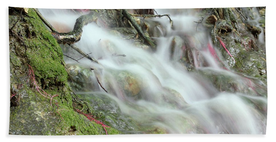 Waterfall Hand Towel featuring the photograph Fresh Spring Water Nature Detail by Goce Risteski