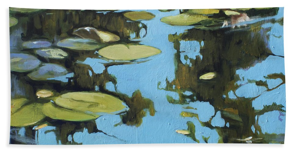 Lin Petershagen Bath Sheet featuring the painting Fresh Water by Lin Petershagen