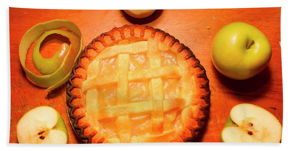 Baking Hand Towel featuring the photograph Freshly Baked Pie Surrounded By Apples On Table by Jorgo Photography - Wall Art Gallery