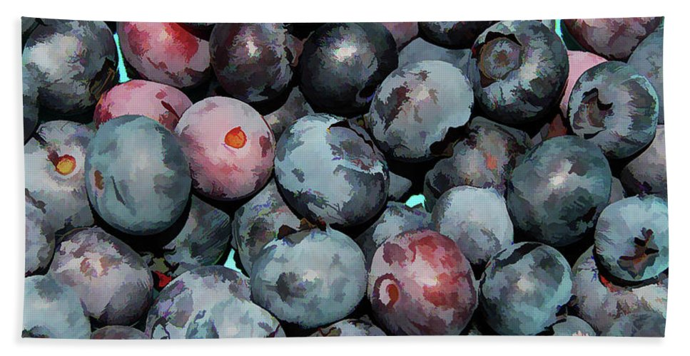 Freshly Picked Blueberries Bath Sheet featuring the painting Freshly Picked Blueberries by Jeelan Clark