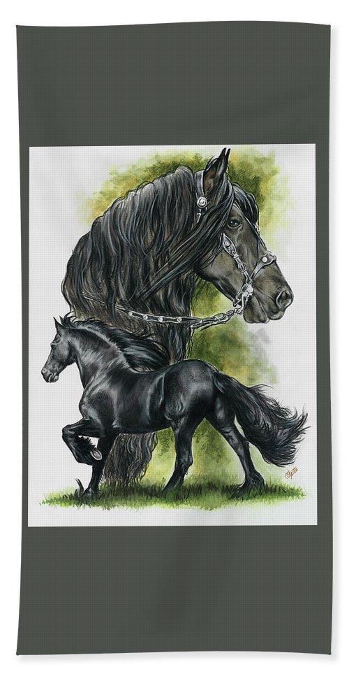 Horse Bath Sheet featuring the mixed media Friesian by Barbara Keith