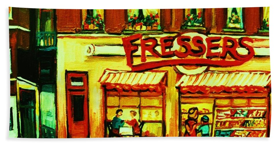 Fressers Bath Sheet featuring the painting Fressers Takeout Deli by Carole Spandau