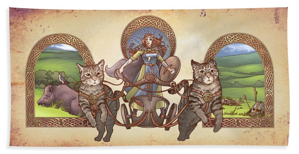 Freya Driving Her Cat Chariot Triptic Garbed Version Hand Towel