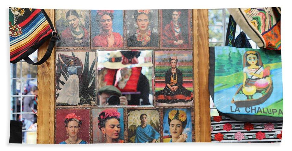Dia De Los Muertos Hand Towel featuring the photograph Frida Kahlo Display II by Chuck Kuhn