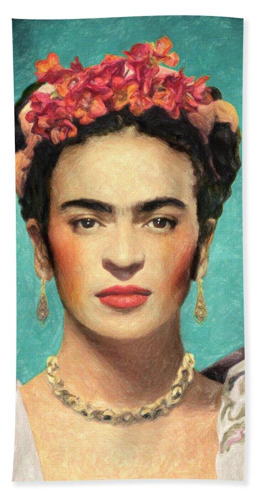 Frida Kahlo Bath Towel featuring the painting Frida Kahlo by Zapista OU