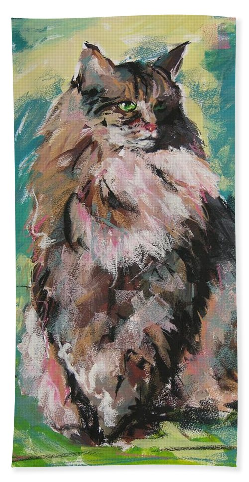 Cat Bath Towel featuring the painting Friday Lioness by Mary McInnis
