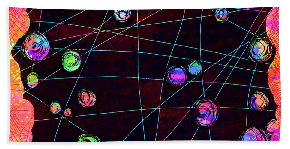 Abstract Bath Towel featuring the digital art Friends by William Russell Nowicki