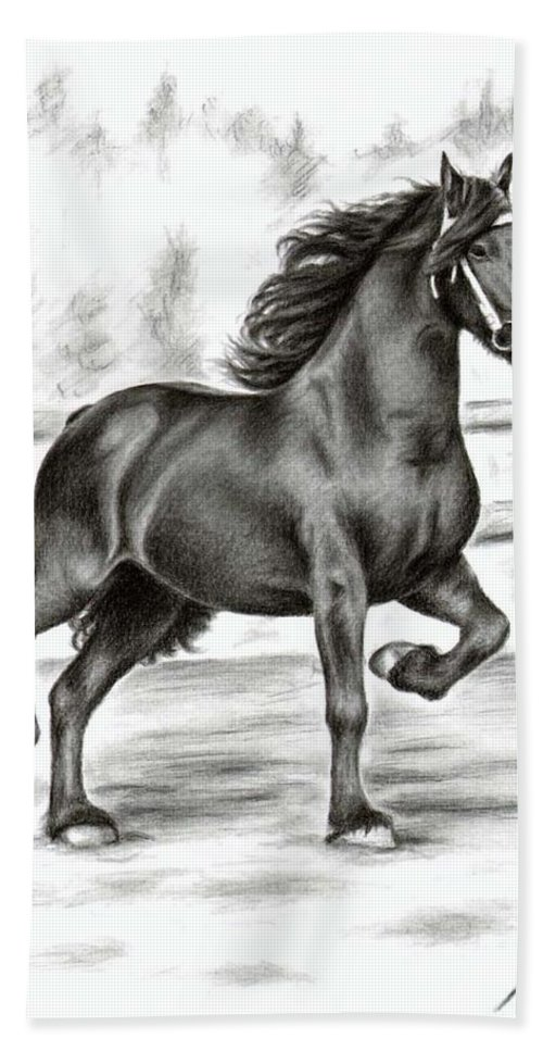 Horse Hand Towel featuring the drawing Friesian Horse by Nicole Zeug