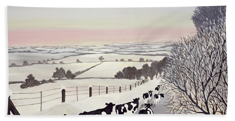 Fence; Cow; Cows; Landscape; Winter; Snow; Tree; Trees; Friesians; Animal; Farm Animal Bath Towel featuring the painting Friesians in Winter by Maggie Rowe