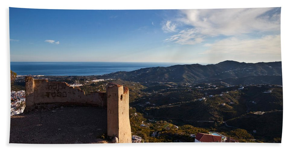 Photography Bath Sheet featuring the photograph Frigiliana From El Fuerte De by Panoramic Images