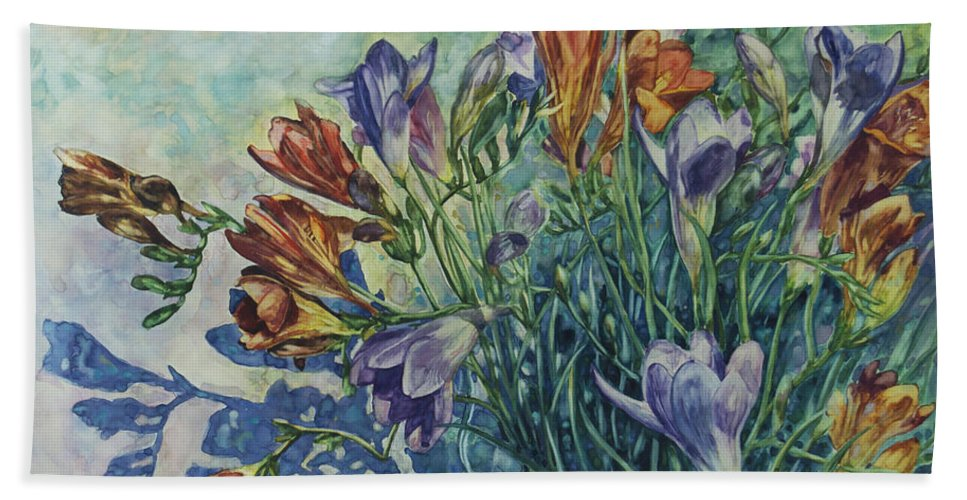 Flowers Bath Sheet featuring the painting Frishias by Rick Nederlof
