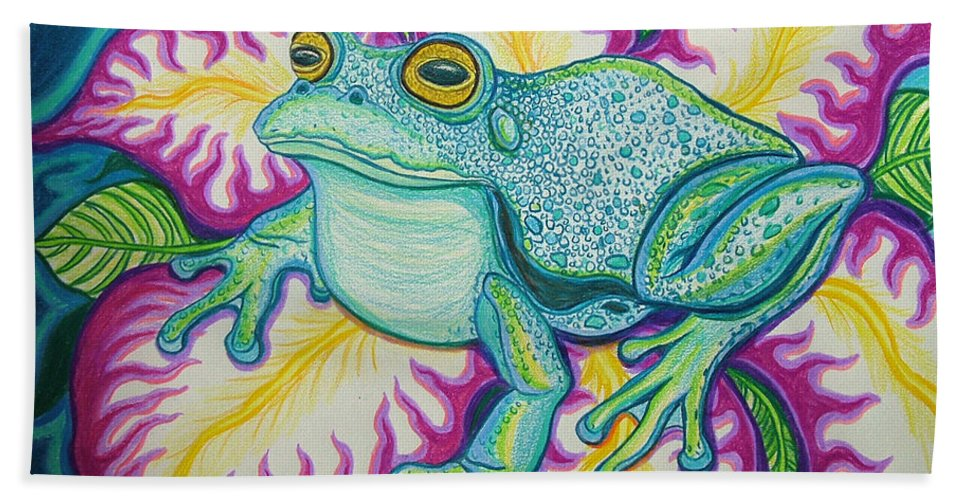 Frog And Flower Art Bath Sheet featuring the drawing Frog And Flower by Nick Gustafson