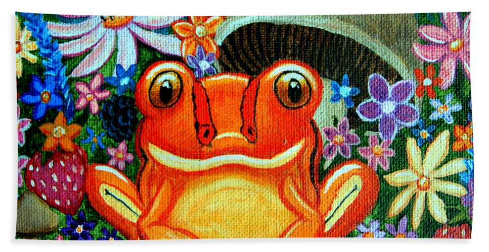 Frogs Hand Towel featuring the painting Frog And Flowers by Nick Gustafson