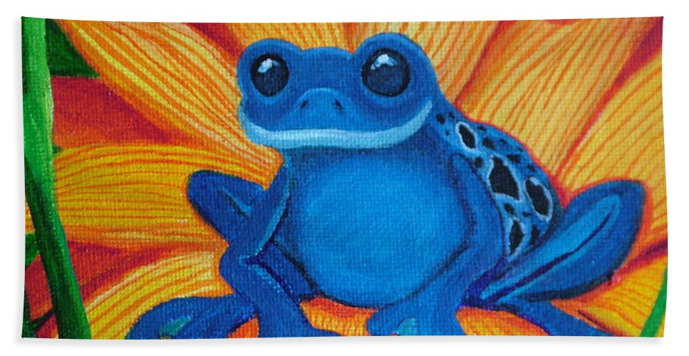 Frog And Flower Painting Hand Towel featuring the painting Frog And Lady Bug by Nick Gustafson