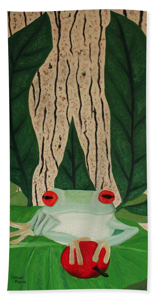 Rana Bath Sheet featuring the painting Frog And Silhouette by Ismael Rivera