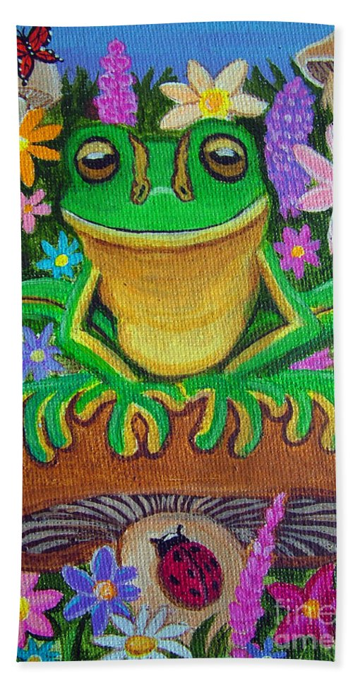 Frog Artwork Frog Painting Whimsical Artwork Green Frogs Hand Towel featuring the painting Frog On Mushroom by Nick Gustafson