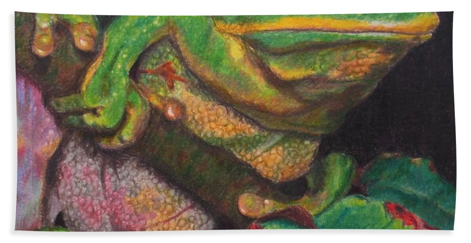 Frog Hand Towel featuring the painting Froggie by Karen Ilari