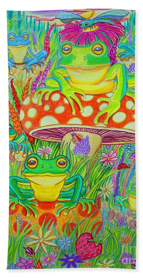 Frog Art Hand Towel featuring the drawing Frogs And Mushrooms by Nick Gustafson